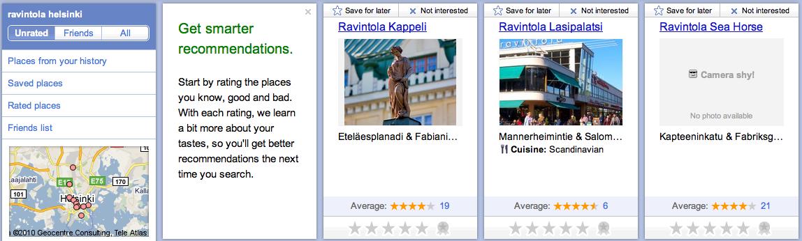 Google Hotpot - paikkasidonnaiset arvostelut ja arviot sekä suosittelut